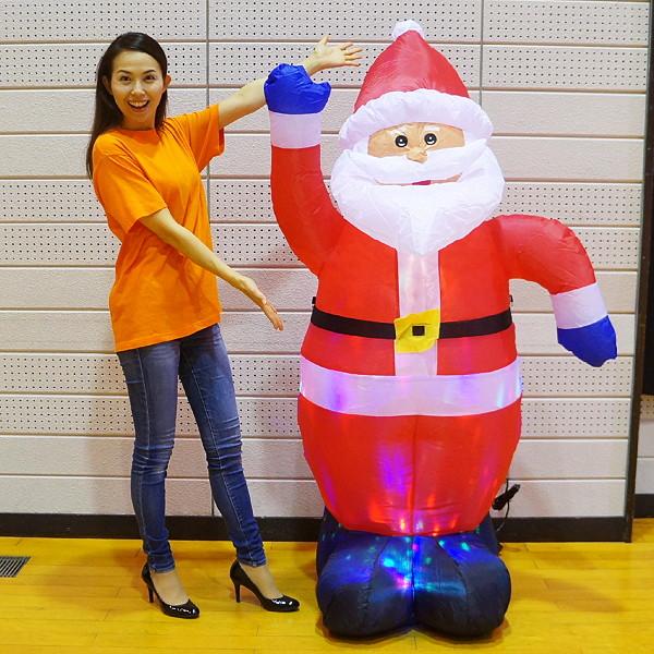 [送料無料] クリスマスエアブロー装飾 ディスコライト サンタ H180cm / ディスプレイ エアブロウ/ 動画有