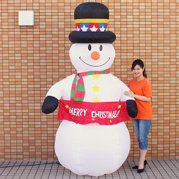 [送料無料] クリスマスエアブロー装飾 スノーマン H240cm / ディスプレイ エアブロウ 雪だるま/ 動画有
