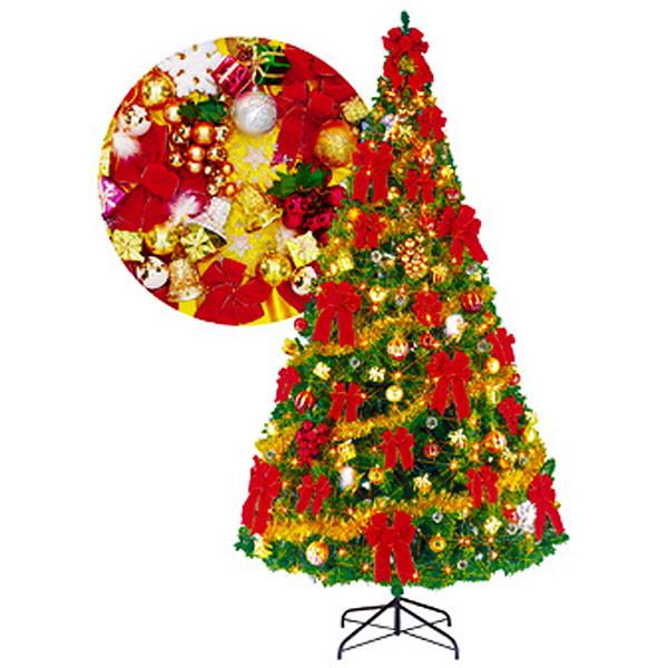 [送料無料] クリスマスツリーセット 360cm オーナメント付・200球ライト付 / 装飾 ディスプレイ 飾り