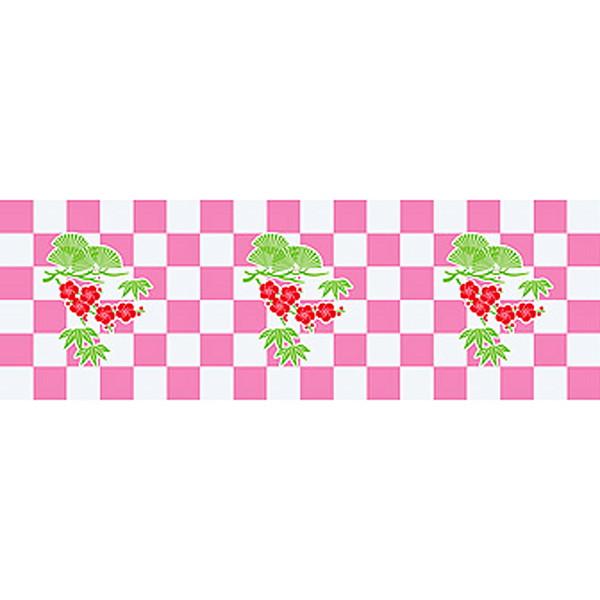 [送料無料] 正月装飾ビニール幕 松竹梅市松 60cm×50m巻