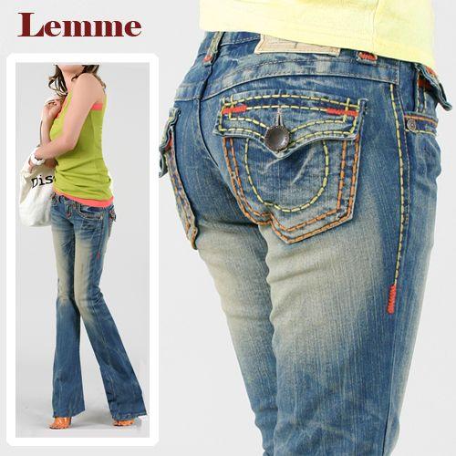 ロリータジーンズ LolitaJeans ブーツカット デニム ステッチ オレンジ ポケット 美脚■pat-225