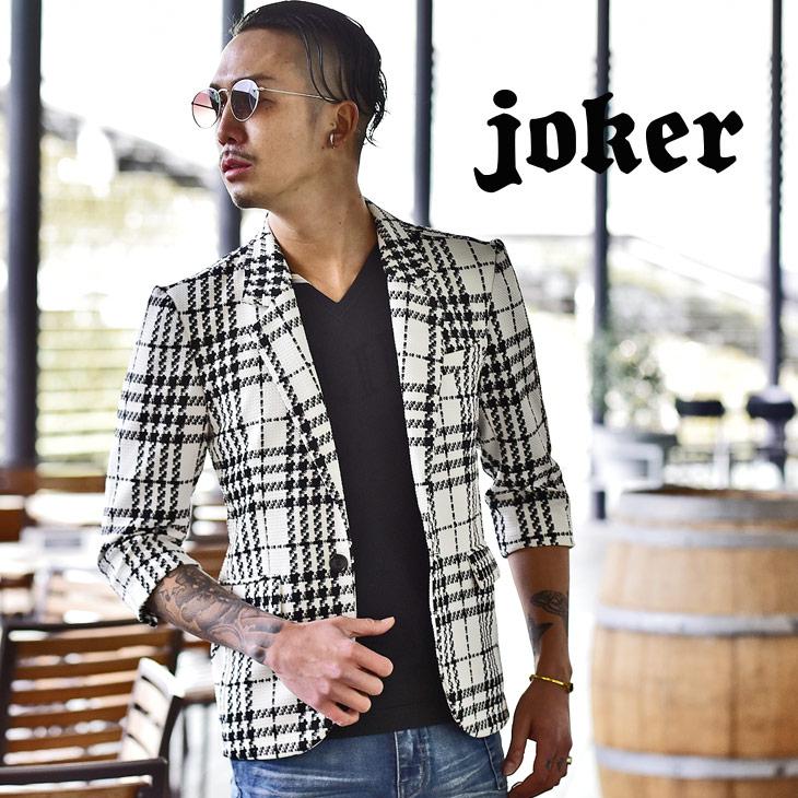 Jacket casual four circle big size check jacket black and white handle xl  ll black white きれいめおしゃれ adult host wedding ceremony cross,woven lattice