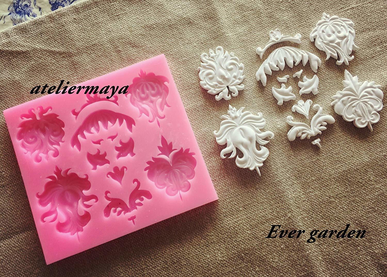 彫刻 5個セット シリコンモールド レジン アロマストーン 手作り 樹脂 粘土 デコレーション 型 抜き型