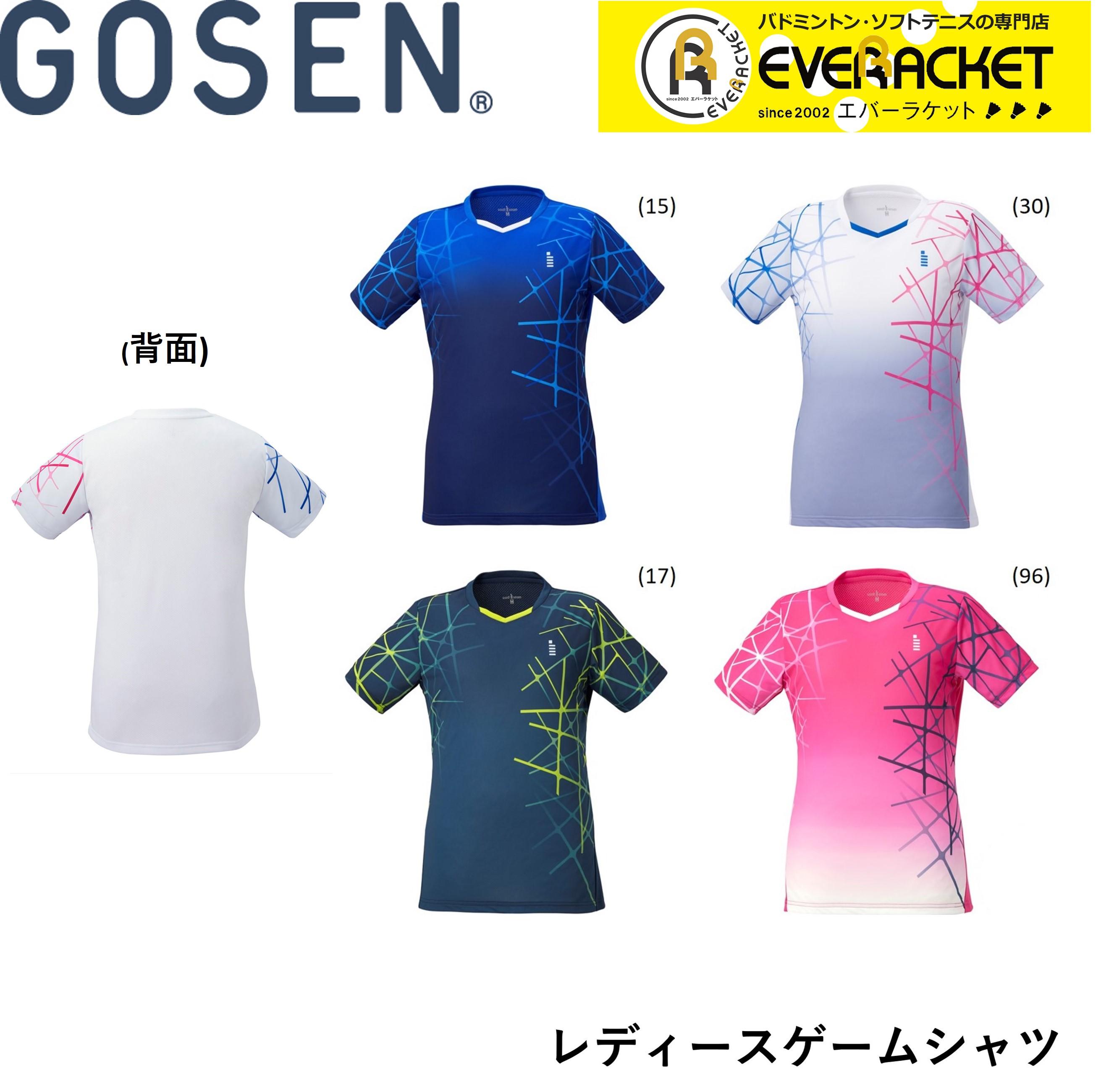 2020年 GOSEN:レディースゲームシャツ 誕生日/お祝い 期間限定特価品 在庫限り40%OFF ポスト投函送料無料 ゴーセン GOSEN バドミントン ウエア T2043 テニス レディースゲームシャツ