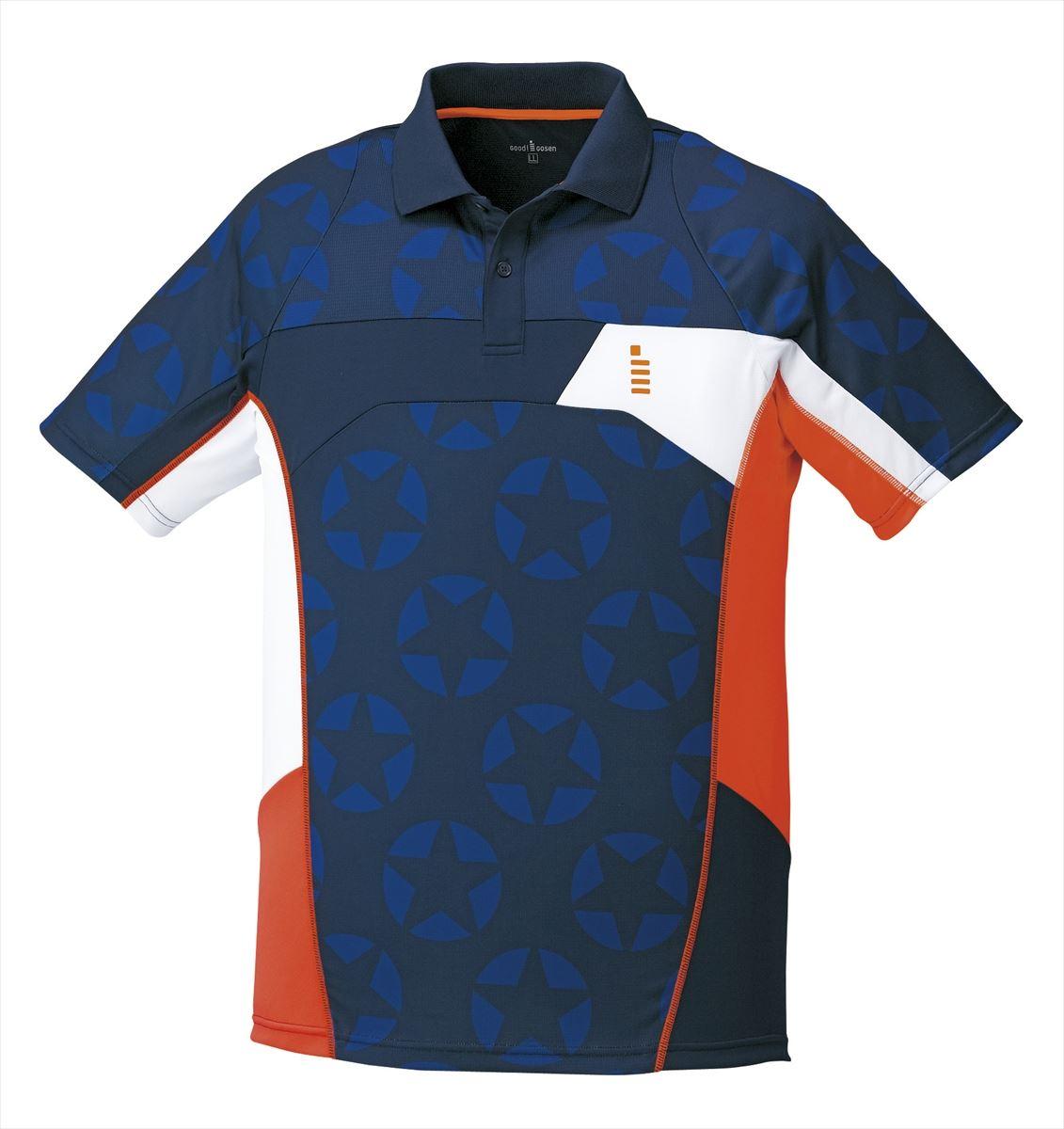 【ゴーセンクリアランス】ゴーセン GOSEN T1712 テニス・バドミントン ウェア(メンズ/ユニ) 星柄ゲームシャツ ネイビー 17SS