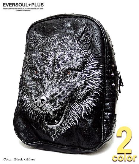 リュックサック ウルフ 狼 アニマル デイバッグ メンズ リュック ロック スタッズ 原宿系 / リアルな狼の顔が大迫力のウルフリュックサック!