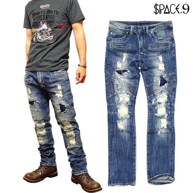 デニム ジーンズ ダメージ メンズ ジーパン バイカー パンツ クラッシュデニム ストレッチ サイズ交換可能 / 極上シリーズの決定版!超ハイクオリティなストレッチ切替ダメージジーンズ!