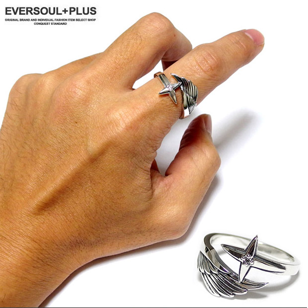 指輪 シルバーリング メンズ アクセ シルバー925 リング 羽根 ウイング 十字架 クロス ストーン クリスマス 誕生日 プレゼント ギフト