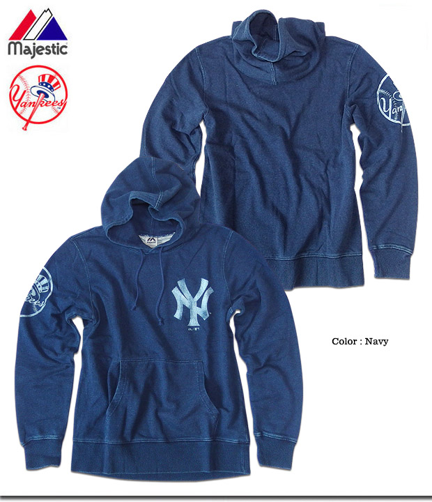 a583b55d8 ... Pullover parka men fleece pile sweat shirt pull parka New York Yankees  indigo dyeing vintage American ...