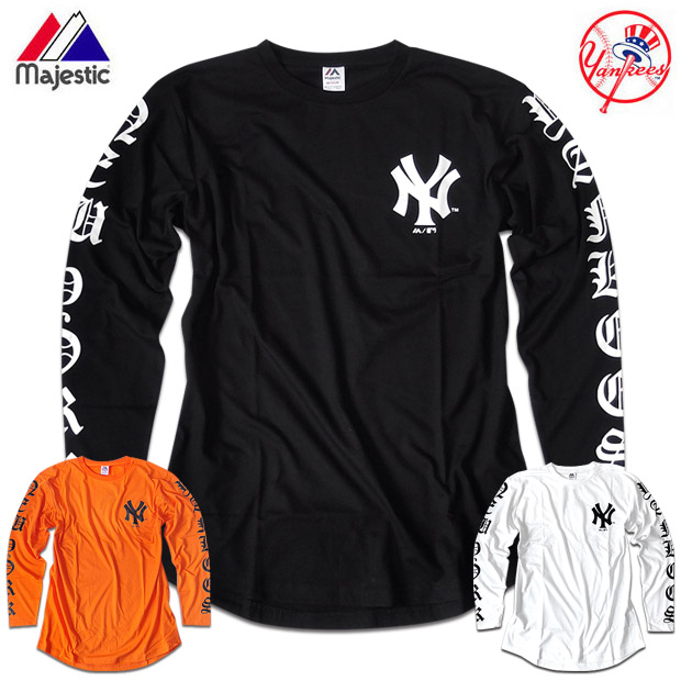New York Yankees T-shirt men Ron T sleeve print long sleeves logo round cut  cut-and-sew black black white innocence is unhurried baced695a5d