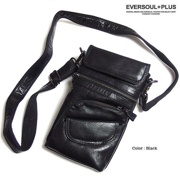 ショルダーバッグ メンズ レザー 本革 斜めがけ ブラック かばん 革 / 本革レザーで大人の雰囲気に!収納豊富なコンパクトショルダーバッグ!