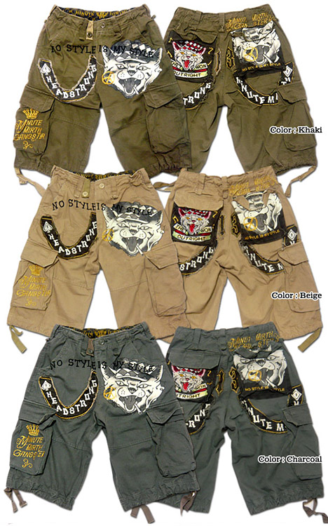 Shorts mens shorts MINUTE MIRTH (SHIROI NEKO シロイネコ) seen such shorts is pretty! Pattern embroidered wash cutting short cargo pants!