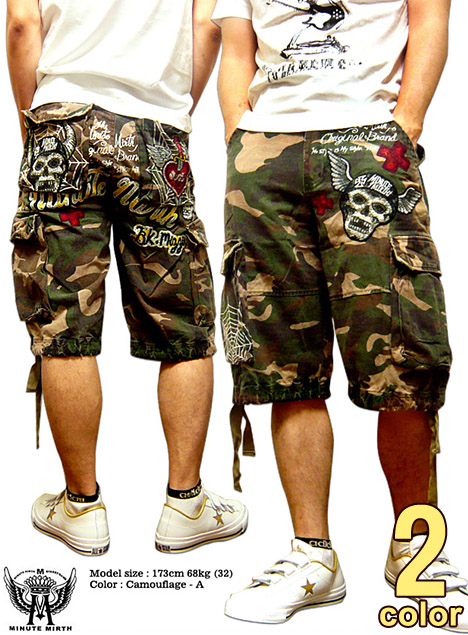 Shorts mens shorts MINUTE MIRTH (SHIROI NEKO シロイネコ) seen such shorts is  pretty! With Camo   embroidered wash cutting short cargo pants! d3adf09be9f