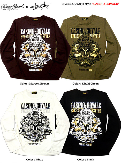 Watch out for EVERSOUL x jb style casino girl print collabo long T shirt 'CASINO ROYALE' delicate graphics! Casino girl & trumprameprintcollabo long sleeve long T-shirt!