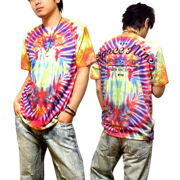 Tie dye print T shirt full color logo men s  a colorful tie dye pattern  logo printing T shirts! In the street 207350fd9