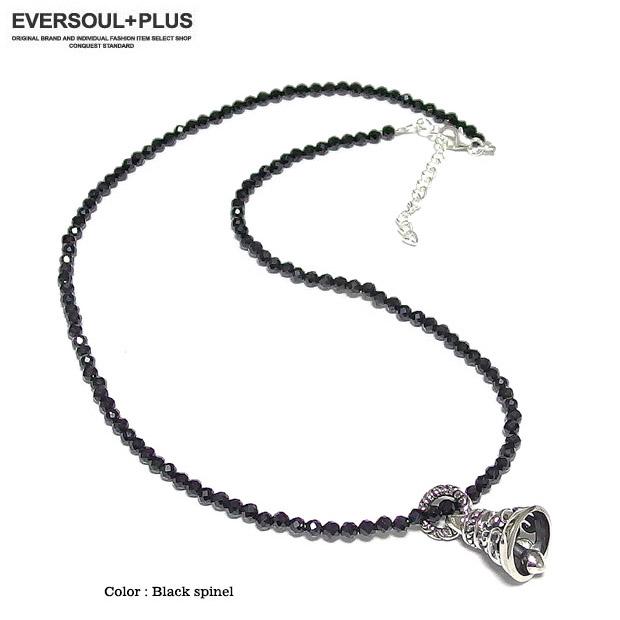 EVERSOUL ブラックスピネル ネックレス メンズ アクセサリー シルバー ヘッド チャーム シルバー925 トップ ギフト プレゼント 鐘 ベル アクセ
