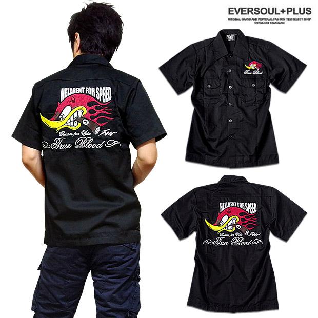 48e17ef1ce 「BILLY EIGHT」のモーターサイクル・バイカー刺繍メンズ半袖ロカビリーシャツ!ロック
