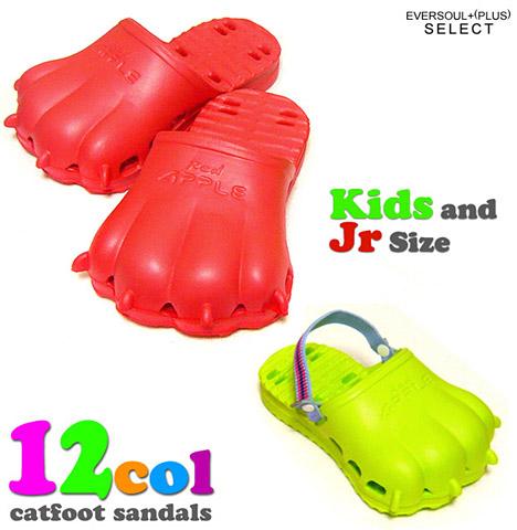 """""""RED APPLE""""猫脚型被介绍了比较好めざ电视的成年人气的拖鞋!是脚型能在橡胶素材轻轻穿猫拖鞋!(购买猫杂货整个怪兽)"""