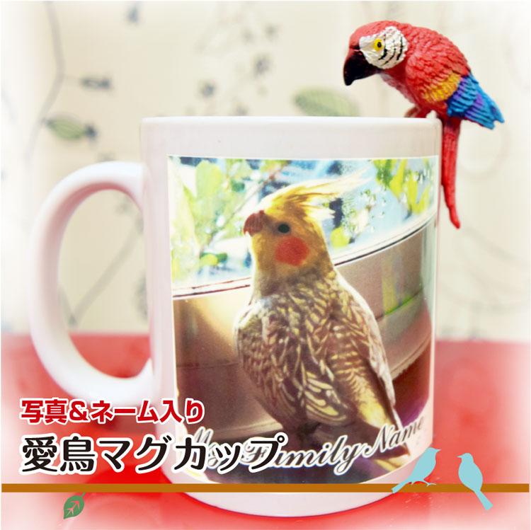 スーパーセール [並行輸入品] 10%オフ マグカップ ペット 名入れ 写真入り 選べるデザイン 鳥 インコ 記念日 グッズ ギフト 雑貨 お祝い 誕生日 プレゼント 文鳥 優先配送