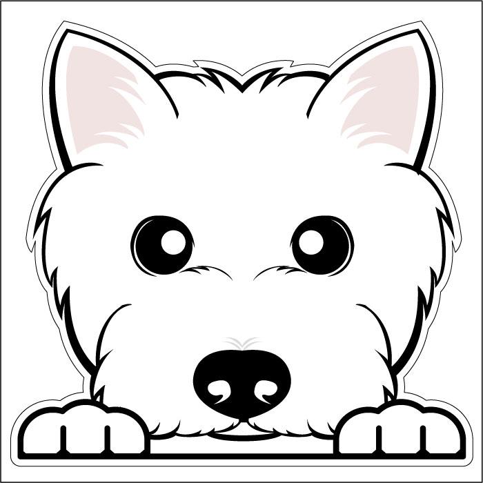 【4/20だけ!ポイント5倍】ウェスティ 犬フェイスステッカー シルエットステッカー 車ステッカー 転写ステッカー 犬用品 犬グッズ 犬雑貨 ギフト プレゼント【名入れ対象外】