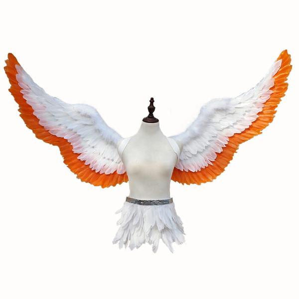 天使の羽 コスプレ道具 200cm 翼 ホワイト+オレンジ 天使の翼 妖精 天使の羽 ファッションショー パーティーグッズ 撮影 cosplay用 コスプレ COSPLAY コスチュームla156h2h2h2/代引不可