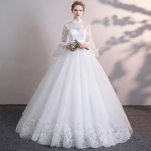 【サイズ有XS/S~3L/4L/5L】花嫁 ウェディングドレス ハイウエスト 妊婦もOK 大きいサイズ 袖あり 着痩せ ぽっちゃり 結婚式 二次会 ドレス 編み上げタイプ レース ロングドレス ウエディングドレス 撮影用 da176t2t2t2