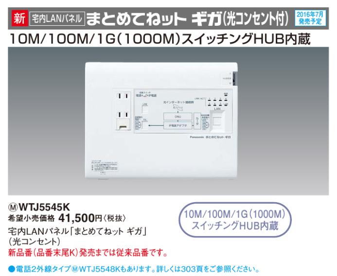 パナソニック Panasonic 宅内LANパネル まとめてねット ギガ(光コンセント)【WTJ5545K】