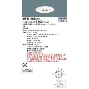 Panasonic パナソニック施設照明器具 NNFB91405 天井埋込型 LED(昼白色) 非常用照明器具 リモコン自己点検機能付/埋込穴φ100