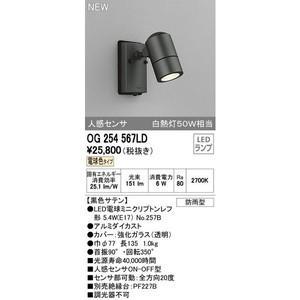 オーデリック LED屋外灯 スポットライト 人感センサー付 電球色 【OG254567LDS】