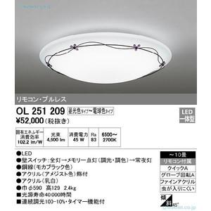 オーデリック LEDシーリングライト リモコン付 8~10畳 OL251209 ODELIC
