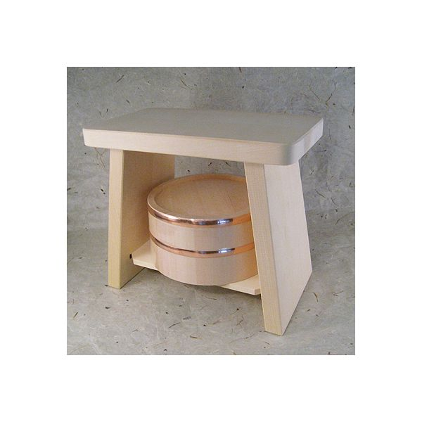 【ヒバ】新型風呂椅子【大】【桧=ひのき】湯桶【銅タガ】セット