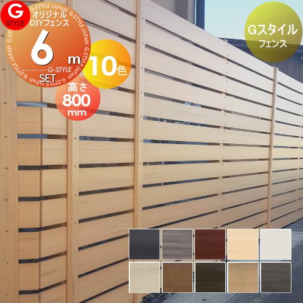 【目隠しフェンス】【オリジナルDIYフェンス】 Gスタイルフェンス【約6M(3スパン分)H800mm×L5985mm用 組立て部材セット】 【人工ウッド 人工木材 樹脂製 フェンス横張り 樹脂製フェンス板材】