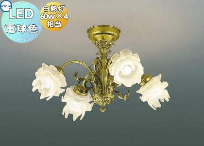 無料プレゼント対象商品!コイズミ照明 KOIZUMI 【シャンデリア ilum ITALYAA42605L アンティローズ薔薇の花をモチーフにした工芸ガラス 電球色・白熱球60W×4灯相当】