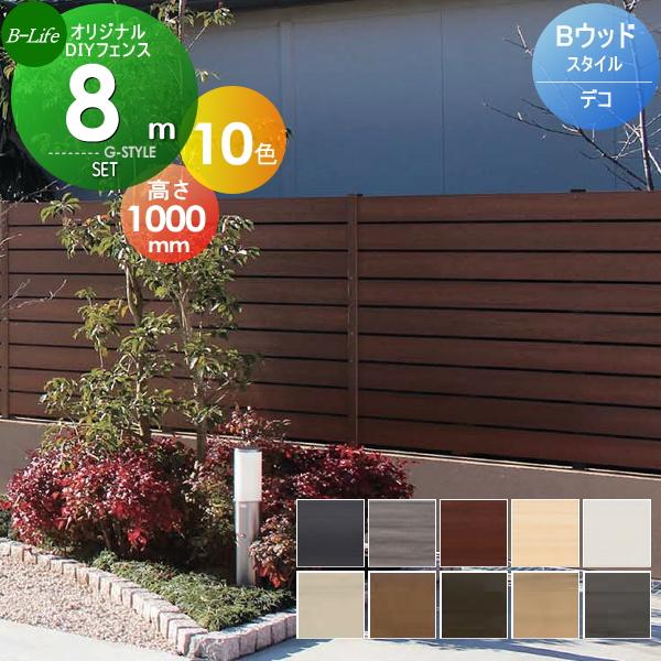 【目隠しフェンス】【オリジナルDIYフェンス】 Bウッドスタイル デコ【約8M(4スパン分)H1000mm×L7980mm用 組立て部材セット】ウッドスタイルフェンスセット 【人工ウッド 人工木材 樹脂製 フェンス横張り 樹脂製フェンス板材】