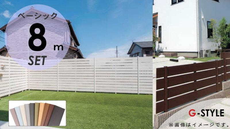 【目隠しフェンス】【オリジナルDIYフェンス】 Bウッドスタイル ベーシック【約8M(4スパン分)H1200mm×L7980mm用 組立て部材セット】ウッドスタイルフェンスセット 【人工ウッド 人工木材 樹脂製 フェンス横張り 樹脂製フェンス板材】