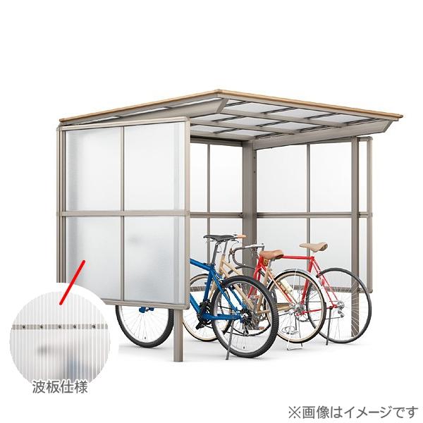 【フーゴFパーク 基本 29-21型 屋根:熱線吸収ポリカ サイドパネル:波板 パネル高さ H1500】 自転車 置場 バイク置き場