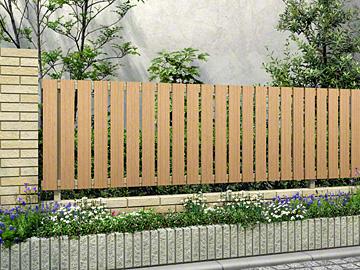 YKKAP ルシアスフェンスH01型 たて板格子 木調カラー 【現場打ち合わせ無料・全国工事対応・3枚以上ご注文で送料無料】