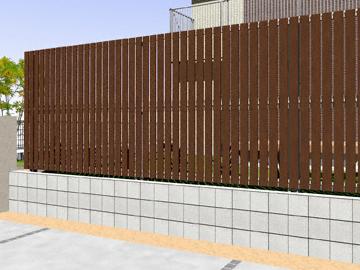YKKAP ルシアスフェンスH01型 たて板格子 木調カラー 2段支柱 【現場打ち合わせ無料・全国工事対応・3枚以上ご注文で送料無料】