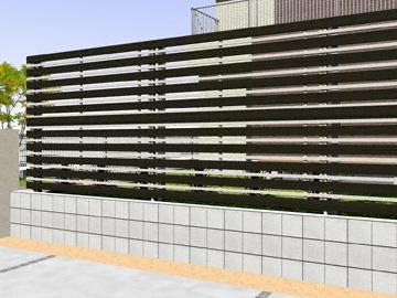YKKAP ルシアスフェンスH03型 横板+細横格子 木調カラー 2段支柱 【現場打ち合わせ無料・全国工事対応・3枚以上ご注文で送料無料】