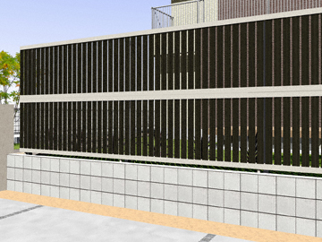 YKKAP ルシアスフェンスF03型 たて半目隠し 木調カラー 2段支柱 【現場打ち合わせ無料・全国工事対応・3枚以上ご注文で送料無料】