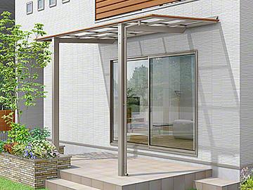 LIXIL フーゴF 独立テラスタイプ 木調色 テラス屋根 【現場打ち合わせ無料・全国工事対応・送料無料】