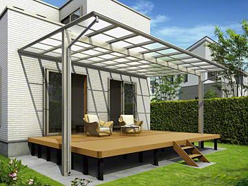 YKKAP エフルージュ大型テラス 壁付けタイプ テラス屋根 【現場打ち合わせ無料・全国工事対応・送料無料】
