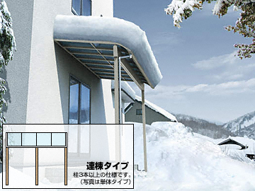 YKKAP ヴェクターテラス R型 積雪100cm対応 テラスタイプ 連棟 テラス屋根 【現場打ち合わせ無料・全国工事対応・送料無料】