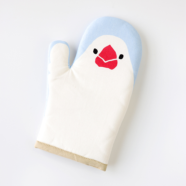 【フレンズヒル】ミトン ぶんた ブルー BL ◆小鳥グッズ 小鳥雑貨 キッチン キッチン用品 なべつかみ ミトン キッチンミトン 文鳥 白文鳥