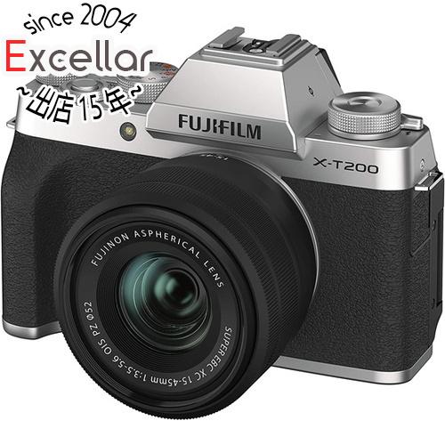 【新品訳あり(欠品あり)】 FUJIFILM ミラーレス一眼カメラ X-T200 レンズキット シルバー 欠品あり