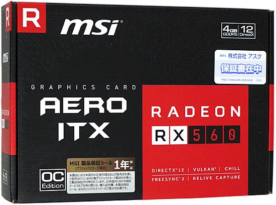 【中古】MSI製グラボ Radeon RX 560 AERO ITX 4G OC PCIExp 4GB 元箱あり