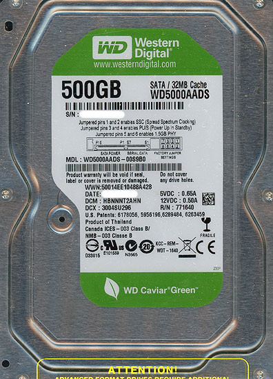 【姉妹館はポイント10倍祭!バナーをクリック!】Western Digital製HDD WD5000AADS 500GB SATA300