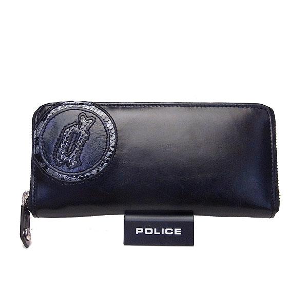 POLICE ポリス メンズ 長財布 小銭入れ付き ラウンドジップ EVEN イーブン ブラック 決算セール商品