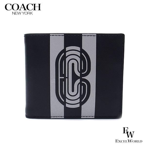 コーチ COACH 財布 アウトレット メンズ 二つ折り財布 91271 QBQ6S IDケース付き レザー ロゴ ブラック×シルバー【あす楽】 エクセルワールド ブランド プレゼントにも 財布
