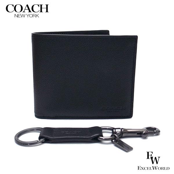 コーチ COACH 財布 アウトレット メンズ 二つ折り財布とパスケースとキーホルダー ギフト セット 専用ボックス付き F64118 BLK ブラック【あす楽】 エクセルワールド ブランド プレゼントにも ウォレット